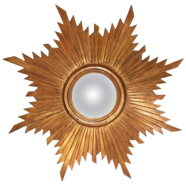 French Convex Sunburst Gilded Mirror - Image 1 of 2