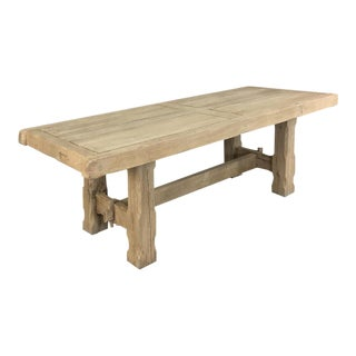 Antique Grand Rustic Stripped Oak Dining Table For Sale