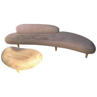 Rare Isamu Noguchi Freeform Sofa and Ottoman For Sale
