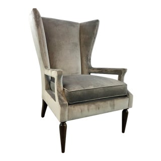 Caracole Modern Gray Velvet Arms Wide Open Wingback Chair For Sale