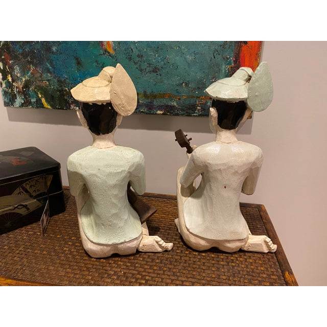 Thailand Wooden Musician Figurines - a Pair For Sale In Tampa - Image 6 of 8