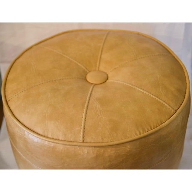 1970s 1970s Leather Moroccan-Style Pouf Ottoman For Sale - Image 5 of 13