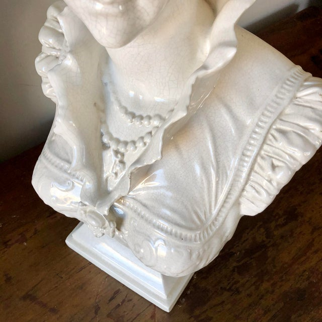 Vintage White Italian Pottery Bust of a Woman For Sale In Buffalo - Image 6 of 11