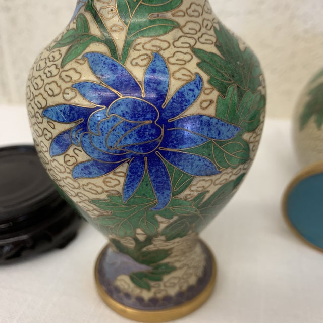 Vintage Chinese Cloisonné Vases -A Pair For Sale - Image 10 of 13