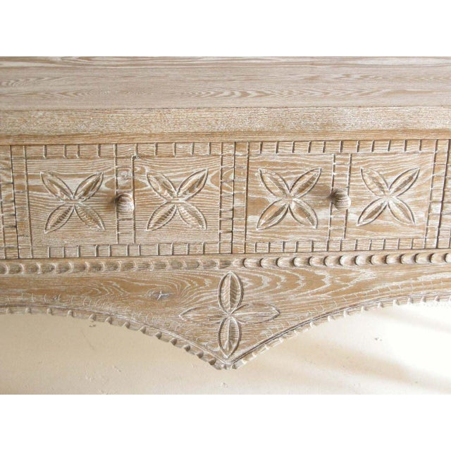 Wood Custom Ceruse Oak Wood Carved Console With Turned Legs and Drawers For Sale - Image 7 of 7
