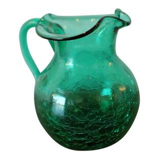 Vintage Green Glass Crackle Finish Pitcher For Sale
