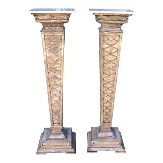 Antique Monumental Marble Top Pedestals-A Pair For Sale