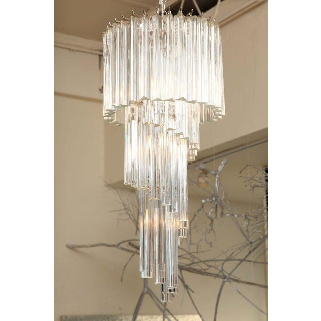 Italian Murano Spiral Crystal Glass Prism Chandelier by Venini For Sale In Miami - Image 6 of 8