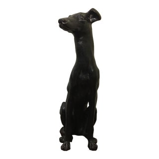20th Century Regency Black Whippet Statue For Sale