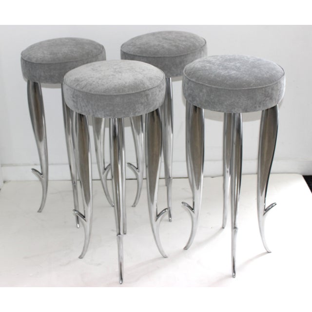 Remarkable set of Philippe Starck Bar Stools designed for the luxury Manhattan mid-town boutique hotel in the 1990s. This...