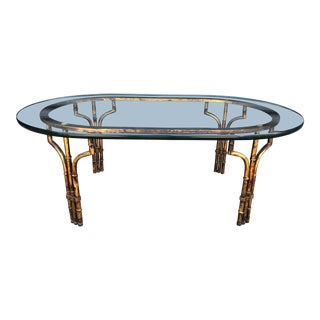 Vintage Gilt Metal Faux Bamboo Coffee Table