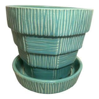 """McCoy Pottery 1940s - 1960s Medium"""" Teal Blue"""" Mid-Century Flowerpot and Saucer For Sale"""