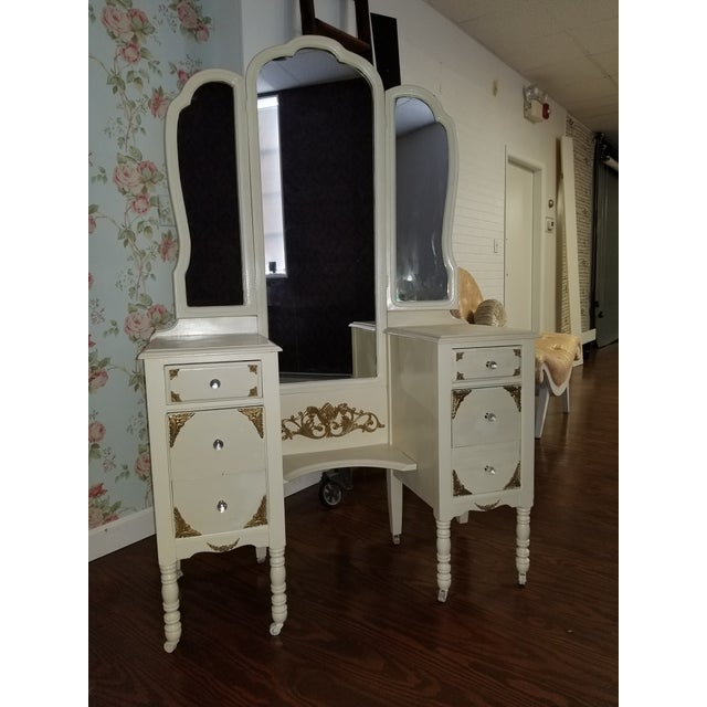 Victorian Ivory VanityMakeup Dresser With Gold Leaf Accents With Mirror For Sale - Image 4 of 8