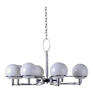 Italian Mid Century 8 Light Fixture With White Globes and Chrome Base For Sale