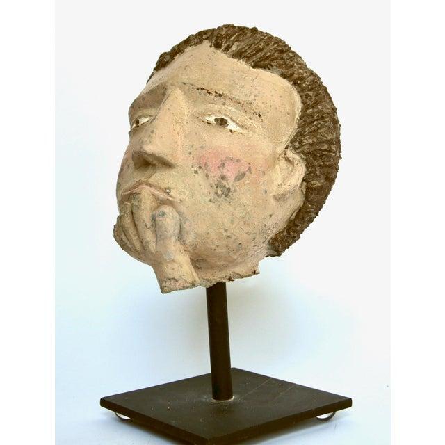 Americana Folk Sculpture Cement Head For Sale - Image 4 of 7