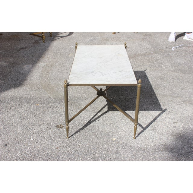 Long Maison Jansen Coffee Or Cocktail Table Bronze Rectangular With Marble Top Circa 1940s For Sale - Image 5 of 11