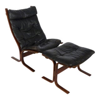 1970s Vintage Westnofa Siesta Leather Lounge & Ottoman For Sale