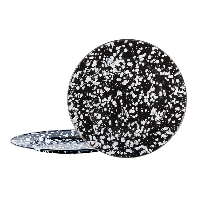 Charger Plates Black Swirl - Set of 2 For Sale