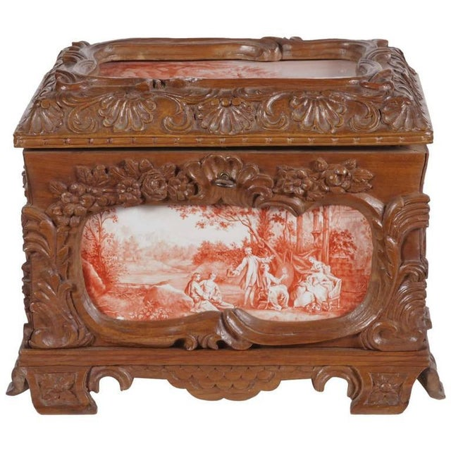 19th Century French Carved & Hand-Painted Pastoral Scenes Tile Jewelry Box - Image 2 of 9