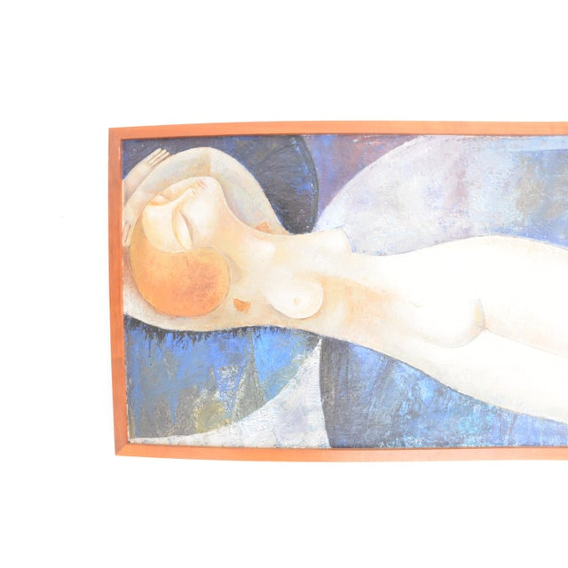 Figurative Modigliani Style Reclining Nude Original Oil Painting, Framed Early 1900's Russia For Sale - Image 3 of 6