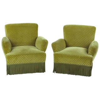 1940s Napoleon III Style Upholstered Armchairs - a Pair For Sale