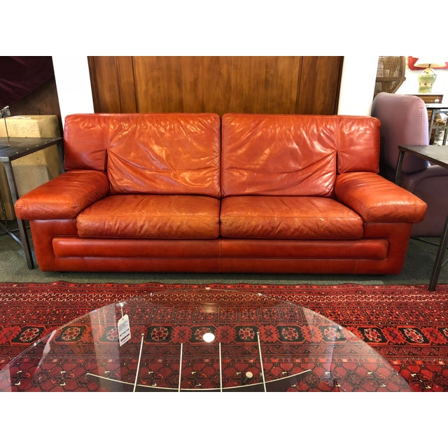 Roche Bobois Vintage Red Leather Sofa For Sale - Image 10 of 10