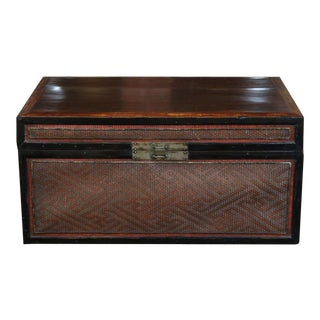 Chinese Woven Bamboo Book Box For Sale
