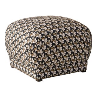 Square Ottoman in Deco Floral Gold Blush Oga For Sale