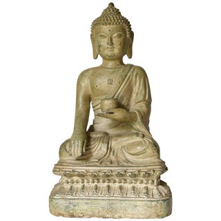 Large Pale Green Bronze Buddha Statue For Sale