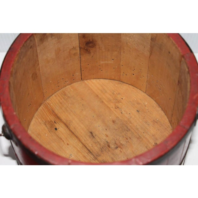 19th Century Original Brick Red Shaker Style Bucket with Handle - Image 3 of 4