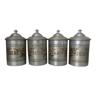 French Painted Zinc Canisters - Set of 4 For Sale