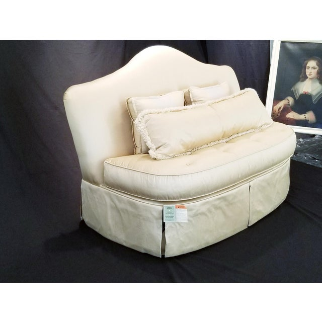 2010s Modern Century Furniture Signature Upholstery Settee For Sale - Image 5 of 11
