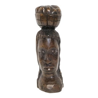 Handcarved Wood African Bust