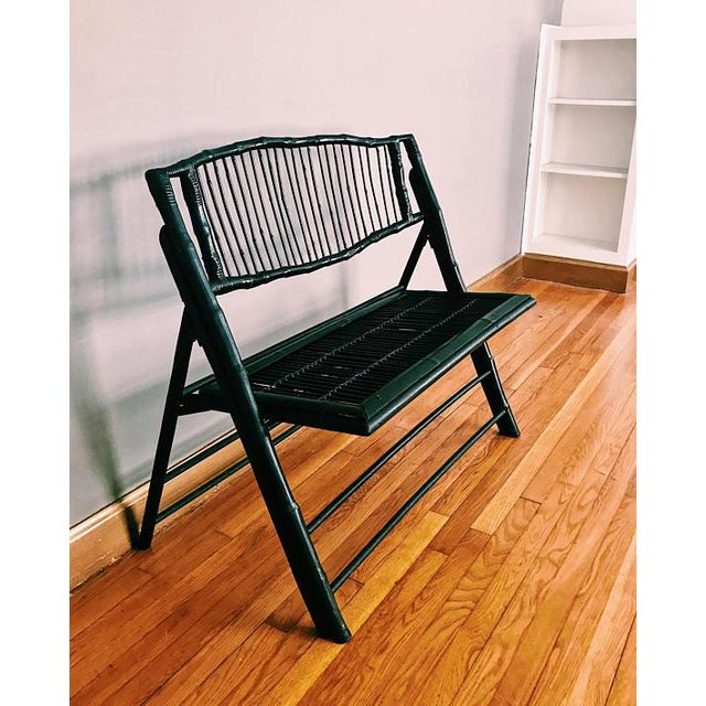 Beautiful and unique black bench perfect for your sunroom or bedroom! Great vintage condition with wear as shown. Measures...