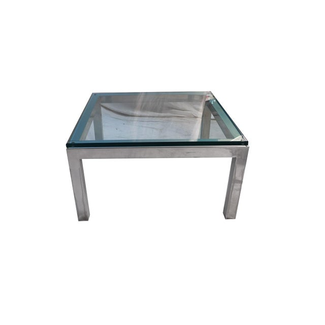 Mid Century Modern Chrome & Glass Coffee Table Milo Baughman Style For Sale - Image 4 of 11