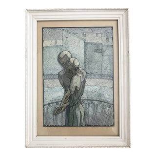 Vintage Russian Watercolor and Pen Art by Alexander Teplov For Sale