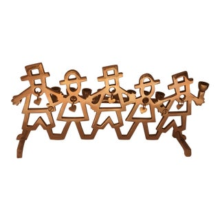 1980s Art Deco Hanukkah Jewish Menorah Brass Hasidic Dancers Menorah Holiday For Sale