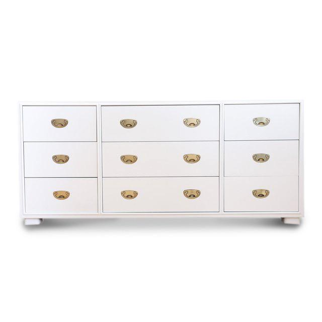 Vintage White Lacquer Campaign Dresser by Drexel. For Sale In Chicago - Image 6 of 7
