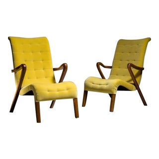 Axel Larsson Pair of Lounge Chairs, Denmark, 1940s For Sale