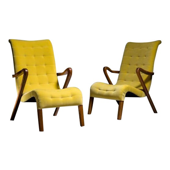 Swell Axel Larsson Pair Of Lounge Chairs Denmark 1940S Spiritservingveterans Wood Chair Design Ideas Spiritservingveteransorg