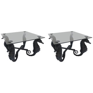 Iron Seahorse Side Tables With Smoked Glass Tops - a Pair For Sale