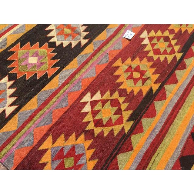 Vintage Aztec Kilim Rug For Sale - Image 4 of 9