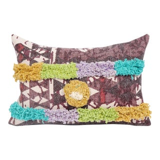12x20 Inch Tribal Pom and Fringe Durable Geometric Cotton Lumbar Pillow For Sale