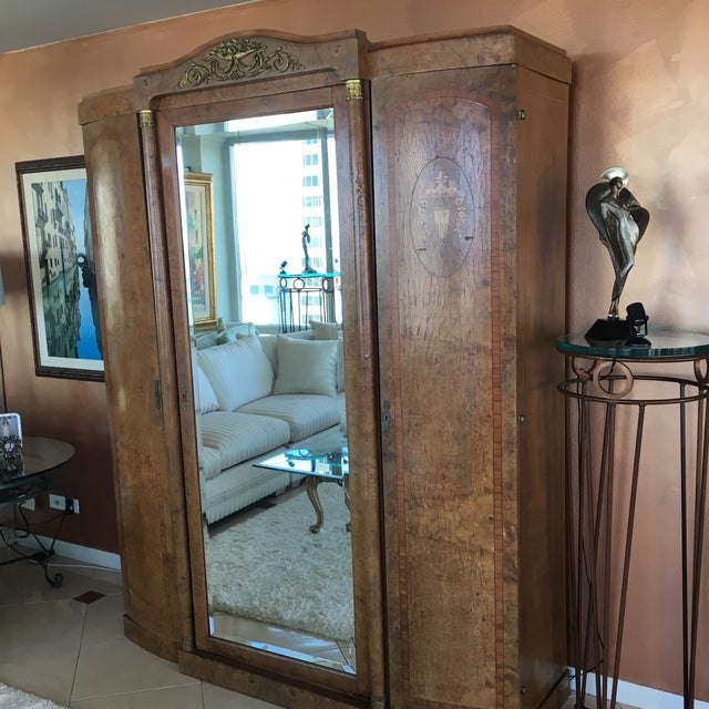 Antique French Burlwood Armoire With Mirror - Image 9 of 10