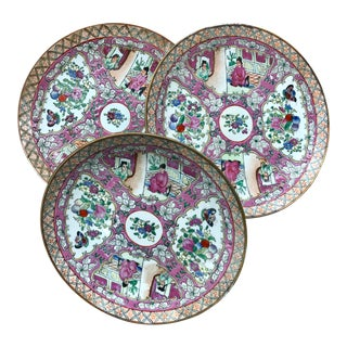 Large Chinese Rose Medallion Plates- Set of 3 For Sale