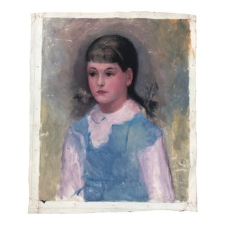 1950s Vintage Oil on Canvas Young Girl With Pigtails Portrait Painting For Sale
