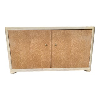 Rare Karl Rausch for Baker Blonde Mahogany Linea Cara Cabinet With Rounded Ribbed Cane Ends, Trim & Ball Feet For Sale