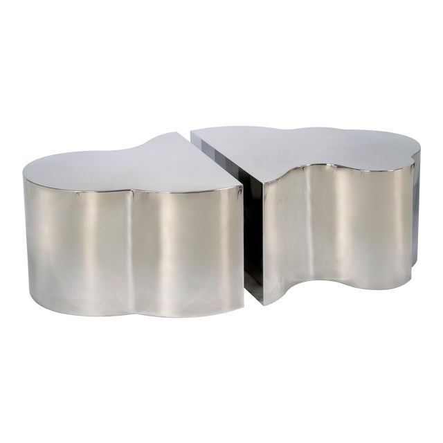 Luca Coffee Tables in Silver - a Pair For Sale