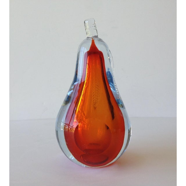 Alfredo Barbini Hand-Blown Murano Pear Bookend For Sale In West Palm - Image 6 of 10