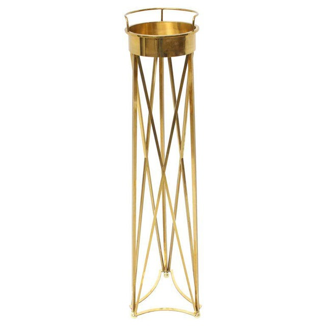 Gold Mid-Century Modern Tall Braised Brass Plant Holder Pedestal For Sale - Image 8 of 9